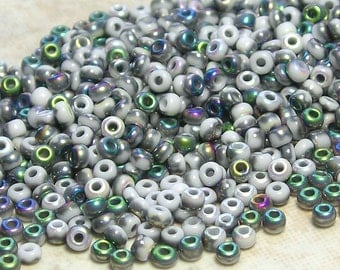 LIMITED 10/0 Opaque White Vitrail Czech Glass Seed Beads 10 Grams (CS82)