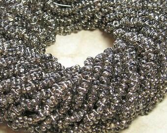 4x2mm Platinum Czech Glass Farfalle Seed Bead Strand (AW103)