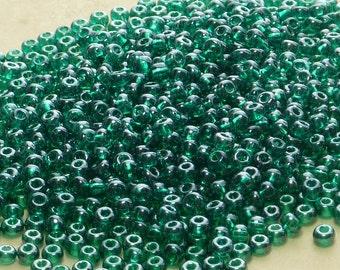 6/0 Transparent Teal Luster Czech Glass Seed Beads 20 Grams (CS77)