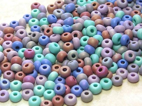 6/0 Matte Pastels Mega Mixed Czech Glass Seed Beads 20 Grams (C420)