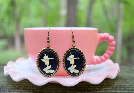 Fairy Cameo Earrings - SALE - 50% off - Gifts Under 25