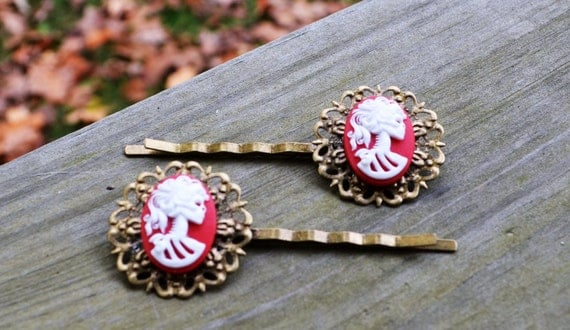 Lolita Skull Bobby Pin Set - You Pick the Color - Red and White - Ivory and Black - Gifts Under 25 - Spooky - Halloween - Skeleton