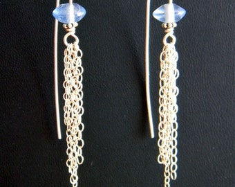 Waterfall Sterling Chain and Blue Glass Earrings