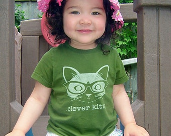 Olive Clever Kitty Kids Short Sleeve Tee T-shirt