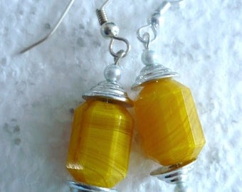 Karina's Butterscotch Yellow Art Deco Czech Antique Bead Dangle Earrings