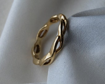 Men's Wedding Band Twisted Rope 14K Gold Two lives intertwined 4mm wide open design