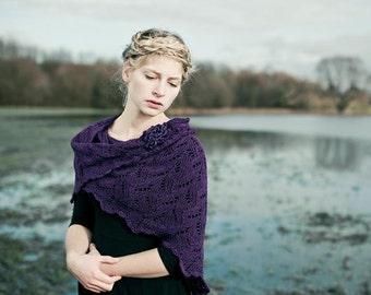 knit shawl, wedding shawl, bridal stole, wedding wrap, wool silk, knitted purple, amethyst, lavender
