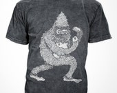 Fighting Yeti - Heather Back - unisex cotton/poly tee, quarrelsome yeti