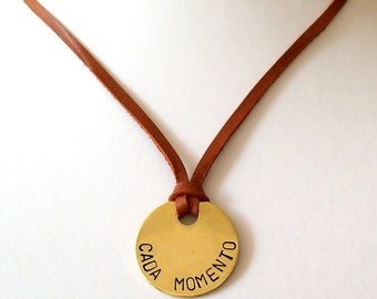 Leather Necklace, Handstamped Jewelry, Couple Necklace, Minimalist Necklace, Promise Jewelry, Love Necklace, Cada Momento, Spanish - Tagged