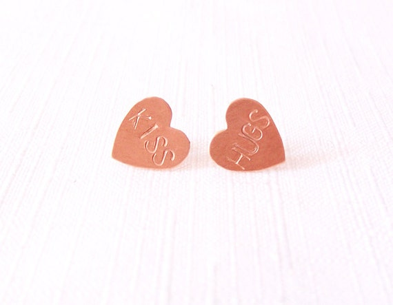 Sterling Silver Copper Post Stud Earrings - Handstamped Hearts - The Basics: Hugs Kiss