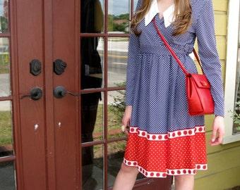 Red, White & Blue Polka Dot Wrap Dress