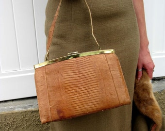1960s Brown Reptile Kelly-Like Pocketbook Purse