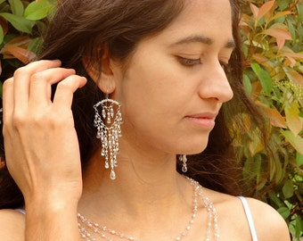 Ice Crystal Earrings: Crystal, Glass, and Seed Beads on Sterling Silver