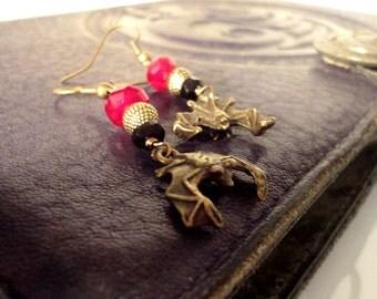 Vampire Bat Earrings: Bronze, Red, and Black