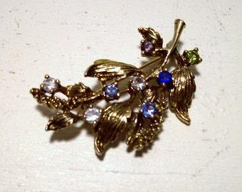 Vintage Gold tone Multi Colored Gemstones Leaf Brooch