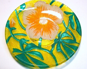 Vintage Hand Painted Floral Textured Green Orange Salmon Glass Dish