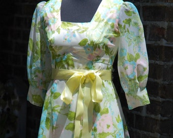 1960's Floral Prom Dress in Yellow with Slip and Ribbon Belt, Never Worn, Homemade, Empire Waist, Long Dress, Size 6