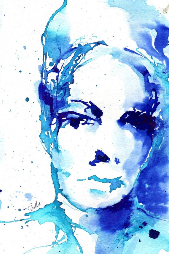 Reserved For D Blue and Teal Watercolor Ink Original Painting and Drawing Womans Face on Watercolor Paper