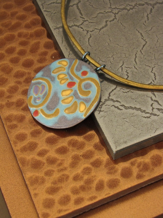 Porcelain Pendant Necklace in Southwest Desert Colors