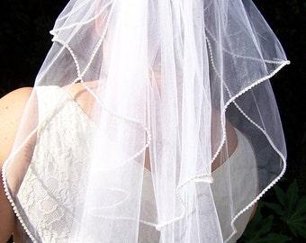 Pearl Wedding Veil, Elbow Waist Length, Choose your color and length