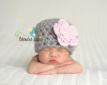 Baby Girl Hat, Newborn flower Hat, Gray hat with Flower, new baby Hat, hospital hat, Premature baby hat, Newborn Hat, Infant gift, knit