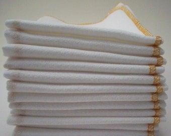 Unpaper Towels Marigold Yellow  Bordered  - Reusable Birds Eye Cotton Napkins