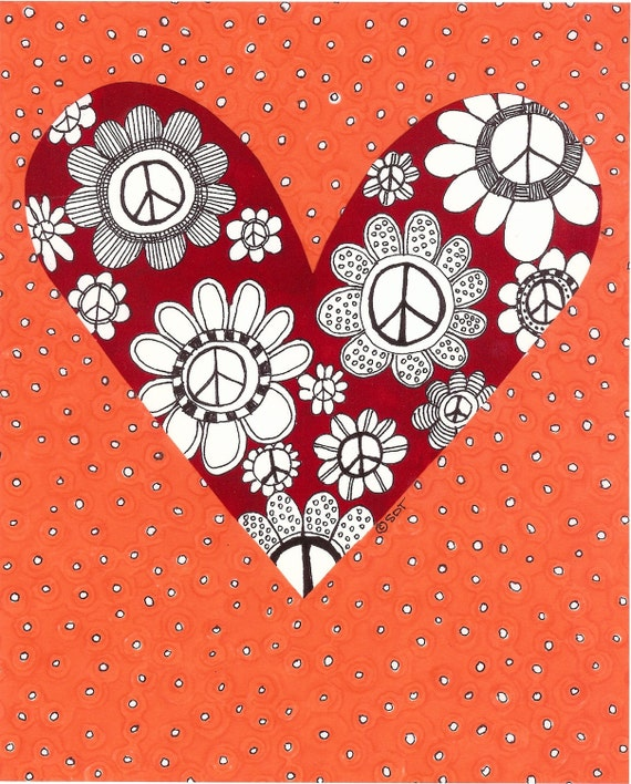 Peace, Love, Flowers and Heart Print