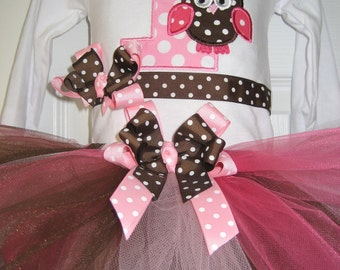 Boutique first birthday owl tutu set pink and brown