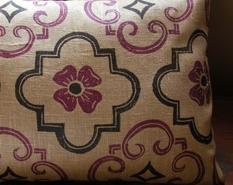Tudor purple black brown hand block printed linen home decor geometric historical decorative pillow case your choice of size
