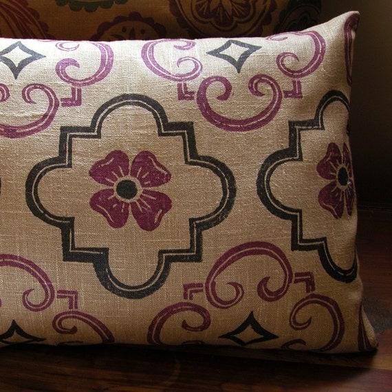 Tudor purple black brown hand block printed linen home decor geometric historical decorative pillow case your choice of size