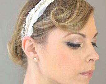 Wedding Accessories Bridal Hair, Odette Bridal Headband - bridal hairband, wedding headband, rhinestone headband, feather headband