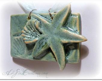 Starfish Hand-Built Nautical Clay Pendant - Beach Jewelry