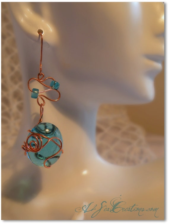 Mermaid Tears - Aqua and Copper Wire-Wrapped Glass Stone Earrings