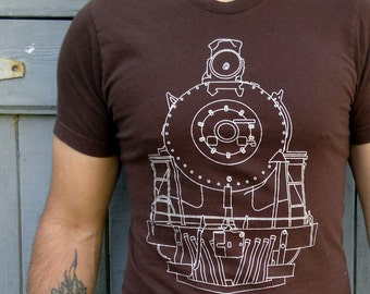 Clothing - Mens Tshirt | Tshirt Men - Gift for Men - Train Tshirt - Brown American Apparel Cotton Tshirt - Train T-Shirt by Locomotive
