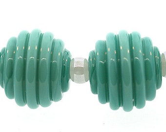 Lampwork Bead Sets, Handmade Opaque Sea Foam Green Ribbed Round Lampwork Beads, Made to Order, lampwork, Bims Bangles