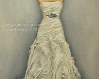 As seen on Style Me Pretty: CUSTOM Wedding Dress Illustration Painting in OIL by LARA 11x14 Bridesmaid Maid of Honor Mother of the Bride