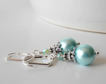 Aqua Pearl Wedding Jewelry Bridesmaid Earrings Beaded Dangles Blue Bridesmaid Jewelry Antiqued Silver Pearl Dangle Earrings Bridesmaid Gift