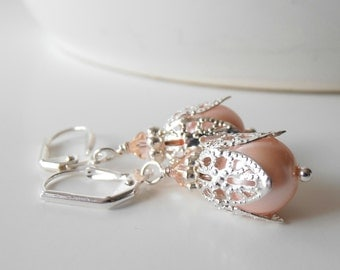 Peach Pearl Bridesmaid Earrings, Beaded Pearl Dangles with Silver Filigree, Swarovski Crystallized Elements Crystal and Pearl, Peach Wedding