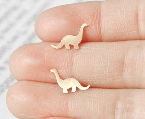 Dinosaur Earring Studs In 9ct Yellow Gold, Brontosaurus Earring Studs, Handmade In The UK