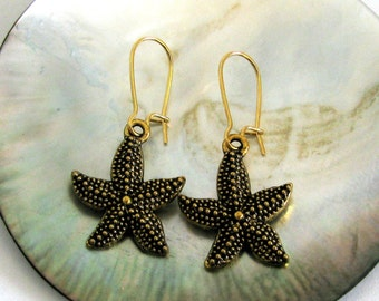 STARFISH Antiqued Gold Bumpy Charm Earrings