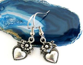 Heart Flower Antiqued Silver Plated Dangle Charm Earrings Victorian Kitsch Art Nouveau
