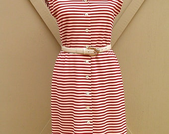 Nautical vintage NOS Red and White Striped Dress with matching Red Jacket