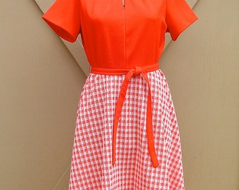 60s vintage Red and White Checked Dress / Picnic Dress