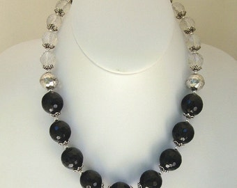 Sterling Silver and Black Bead Necklace