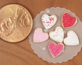 Dollhouse Miniature 6 Loose Valentine Heart Sugar Cookies