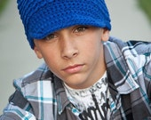 Teen Boy's Hat, Adult Crochet Hat, Crochet Newsboy Hat, Royal Blue, MADE TO ORDER
