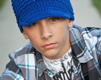 Teen Boy's Hat, Adult Crochet Hat, Crochet Newsboy Hat, Royal Blue, MADE TO ORDER