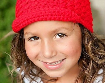 Crochet Hat for Girls, Newsboy Cap, Crochet Toddler Hat, Girls Hat, Red, MADE TO ORDER