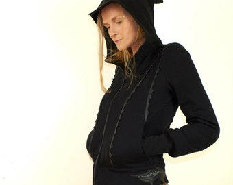 Terora - cotton hooded jacket with leather art appliques, made to order.