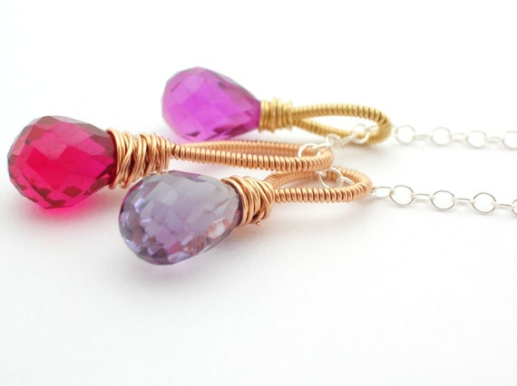 Tiny Cluster Necklace red, purple, blue quartz briolettes wrapped in rose gold, sterling silver, gold filled wire summer jewelry